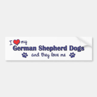 I Love My German Shepherds (Multiple Dogs) Bumper Sticker