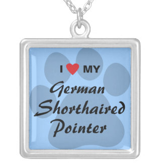 I Love My German Shorthaired Pointer Square Pendant Necklace