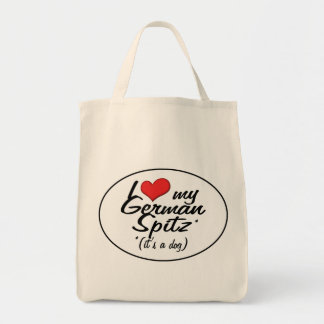 I Love My German Spitz (It's a Dog) Grocery Tote Bag
