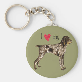 I Love my German Wirehaired Pointer Basic Round Button Key Ring