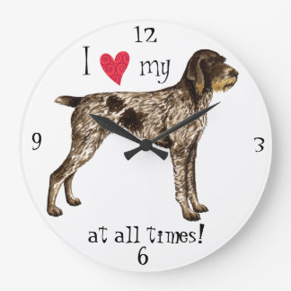 I Love my German Wirehaired Pointer Large Clock