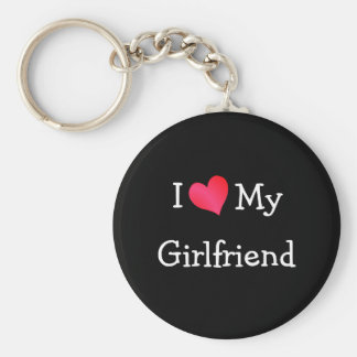 I Love My Girlfriend Basic Round Button Key Ring