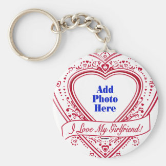 I Love My Girlfriend! Photo Red Hearts Basic Round Button Key Ring