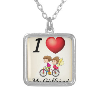I love my girlfriend square pendant necklace