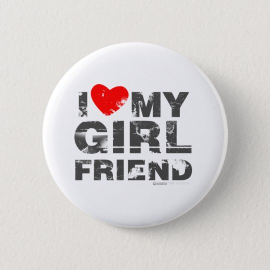 I Love My Girlfriend Vintage Valentines Day heart 6 Cm Round Badge