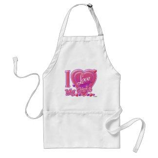 I Love My Girls pink/purple - heart Aprons