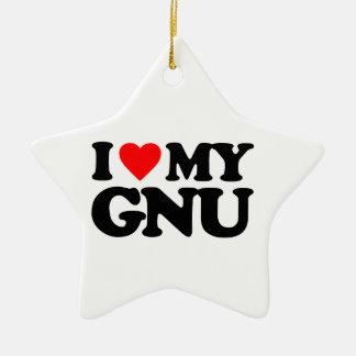 I LOVE MY GNU CHRISTMAS ORNAMENT