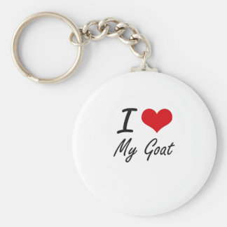 I Love My Goat Basic Round Button Key Ring