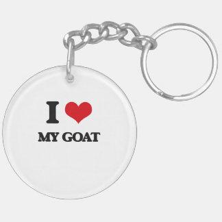 I Love My Goat Double-Sided Round Acrylic Key Ring