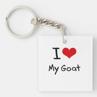 I Love My Goat Double-Sided Square Acrylic Keychain