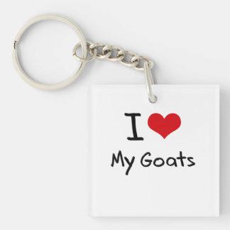 I Love My Goats Single-Sided Square Acrylic Key Ring