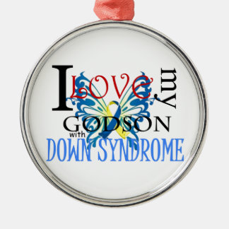I Love My Godson with Down Syndrome Silver-Colored Round Decoration