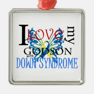 I Love My Godson with Down Syndrome Silver-Colored Square Decoration