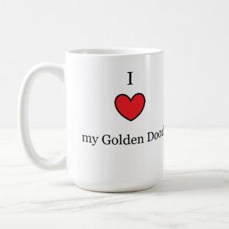 I Love My Golden Doodle, Red Heart Basic White Mug