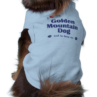 I Love My Golden Mountain Dog (Male Dog) Sleeveless Dog Shirt