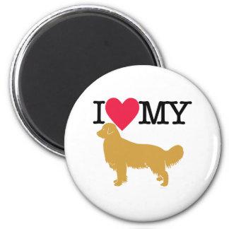 I Love My Golden Retriever ! 6 Cm Round Magnet
