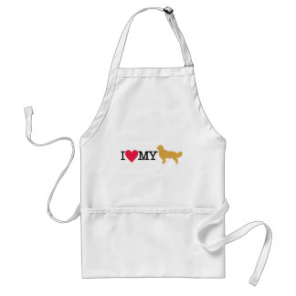 I Love My Golden Retriever ! Adult Apron