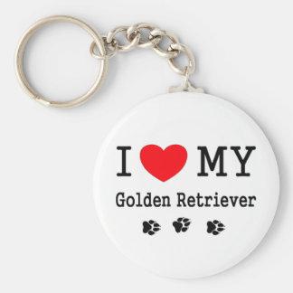 I Love My Golden Retriever Basic Round Button Key Ring