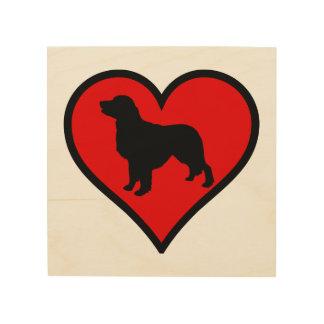 I Love my Golden Retriever dog Silhouette Heart Wood Print