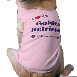 I Love My Golden Retriever (Female Dog) Sleeveless Dog Shirt