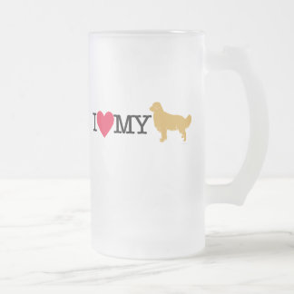 I Love My Golden Retriever ! Frosted Glass Mug