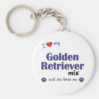I Love My Golden Retriever Mix (Female Dog) Basic Round Button Key Ring