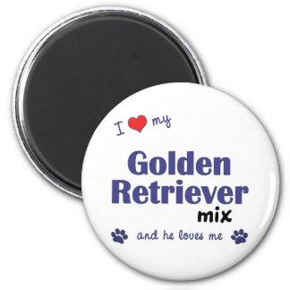 I Love My Golden Retriever Mix (Male Dog) 6 Cm Round Magnet