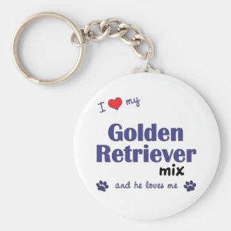 I Love My Golden Retriever Mix (Male Dog) Basic Round Button Key Ring