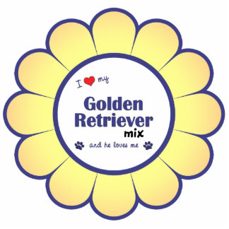 I Love My Golden Retriever Mix (Male Dog) Photo Sculpture Decoration