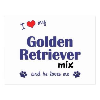 I Love My Golden Retriever Mix (Male Dog) Postcard