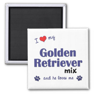 I Love My Golden Retriever Mix (Male Dog) Square Magnet