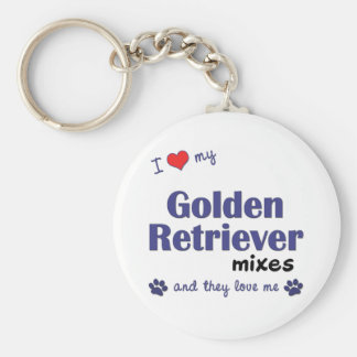 I Love My Golden Retriever Mixes (Multiple Dogs) Basic Round Button Key Ring