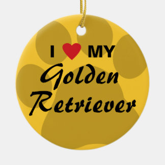 I Love My Golden Retriever Pawprint Round Ceramic Decoration