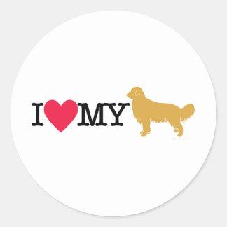 I Love My Golden Retriever ! Round Sticker