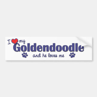 I Love My Goldendoodle (Male Dog) Bumper Sticker
