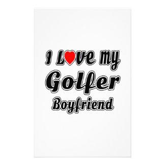 I Love My Golfer Boyfriend Stationery Design