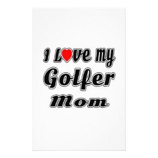 I Love My Golfer Mom Personalized Stationery