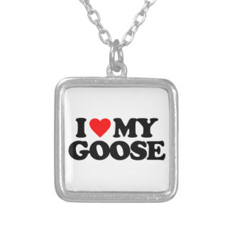 I LOVE MY GOOSE SILVER PLATED NECKLACE