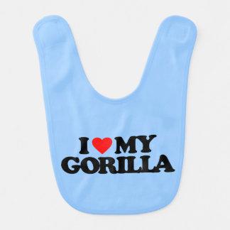 I LOVE MY GORILLA BABY BIBS
