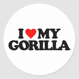 I LOVE MY GORILLA CLASSIC ROUND STICKER