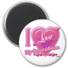 I Love My Grandchildren pink/purple - heart Magnet