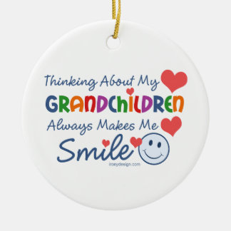 I Love My Grandchildren Round Ceramic Decoration