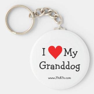 I Love My Granddog Keychain