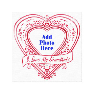 I Love My Grandkid! Photo Red Hearts Canvas Print