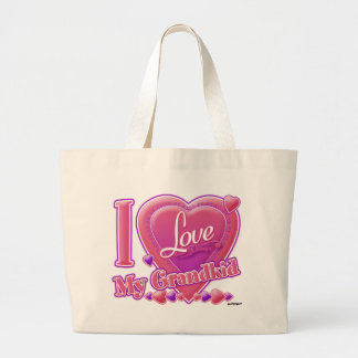 I Love My Grandkid pink/purple - heart Tote Bag