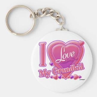 I Love My Grandkid pink/purple - heart Keychains