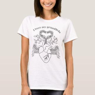 I love my grandkids heart Angel wings line art T-Shirt