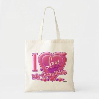 I Love My Grandkids pink/purple - heart Bag