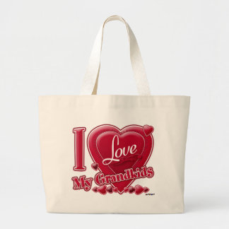 I Love My Grandkids red - heart Canvas Bags