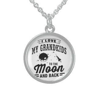 I Love My Grandkids To The Moon And Back Sterling Silver Necklace